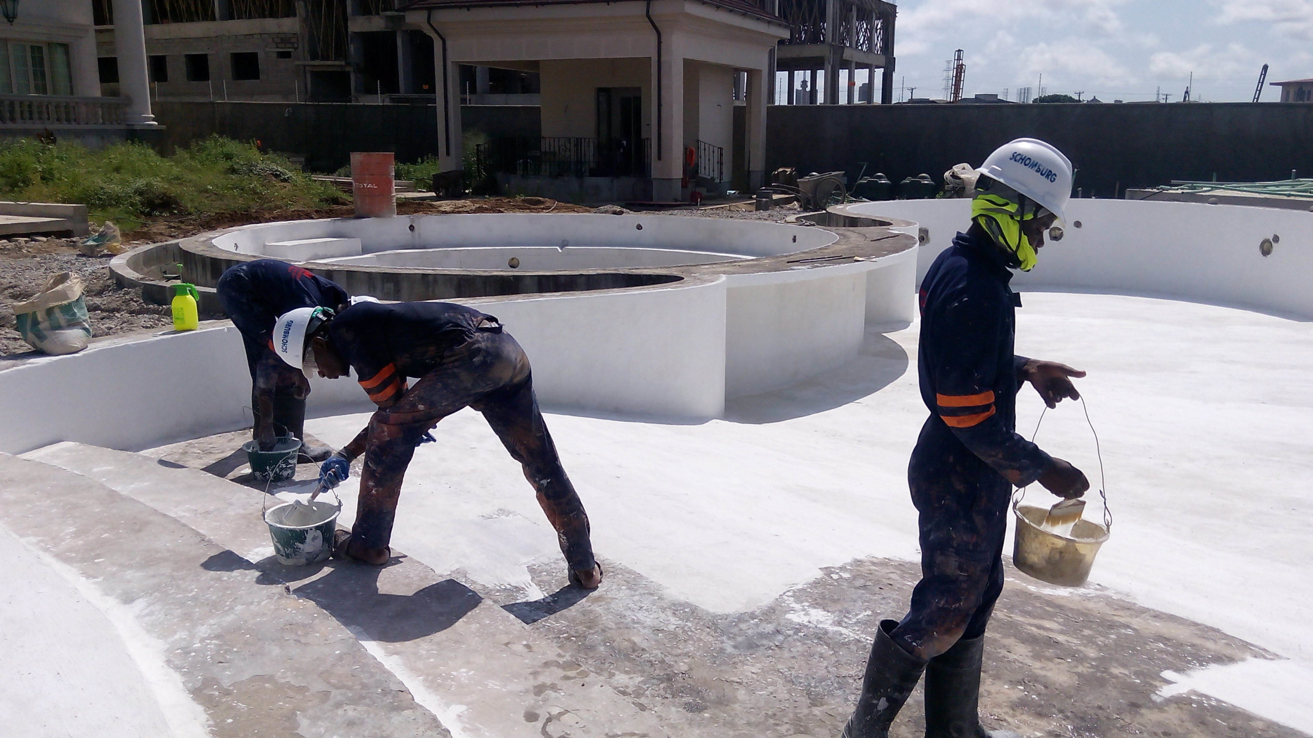 Zhongtian Construction Company, Waterproofing of Water Fountain and Supply of Admixture for Concrete Waterproofing of Retaining Walls.