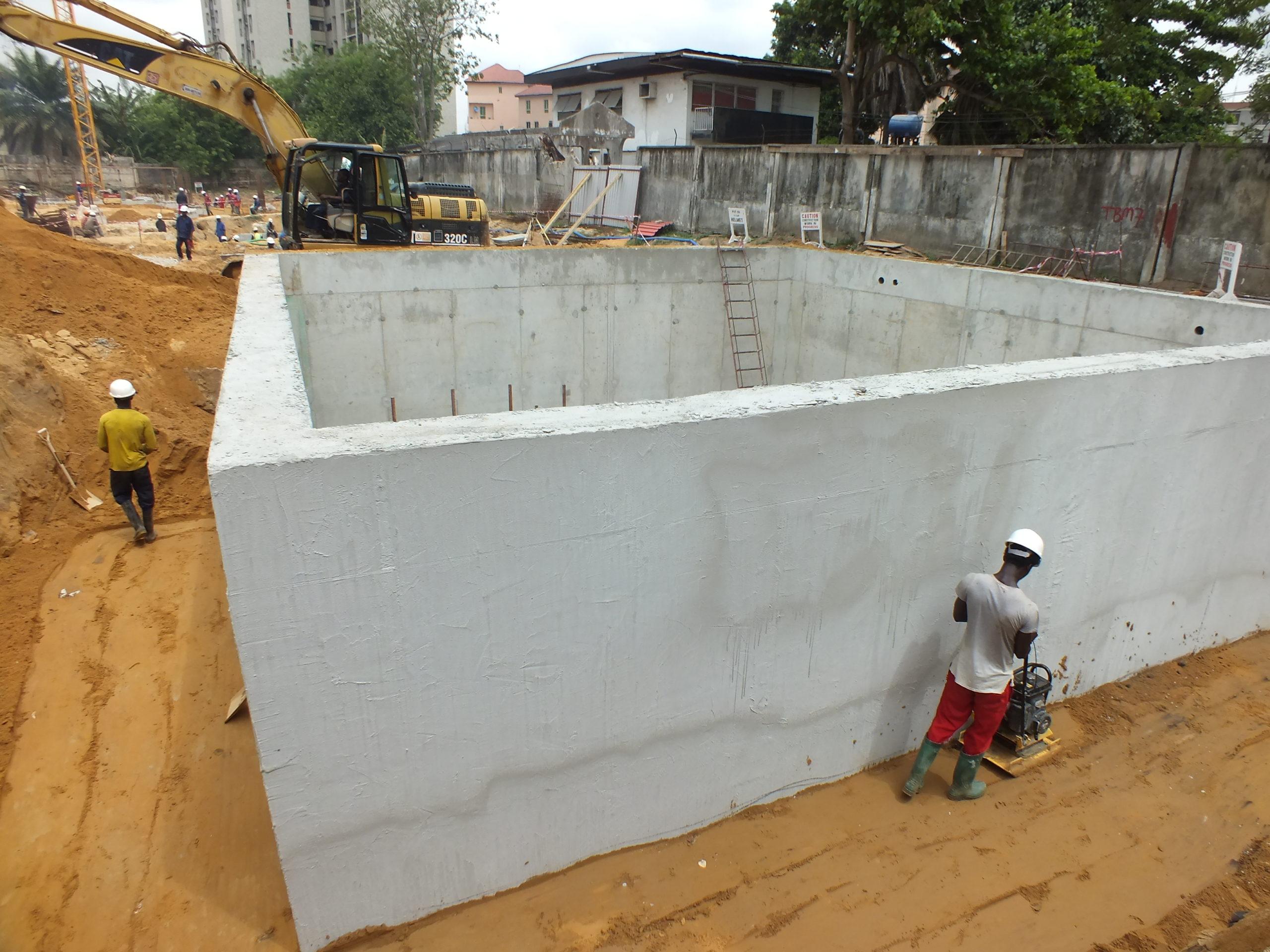 Application of AQUAFIN 1K on underground tanks backfilling work in progress after application